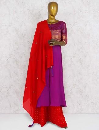 Purple hue punjabi palazzo suit