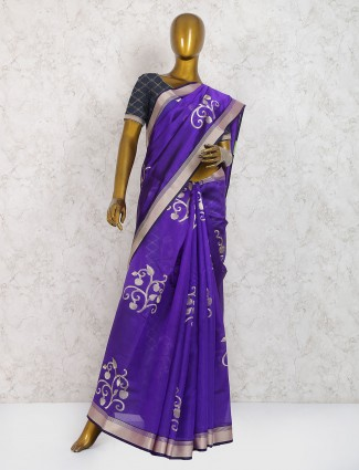 Purple hue pure silk festive saree