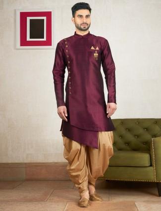 Purple hue wedding wear indo western kurta suit