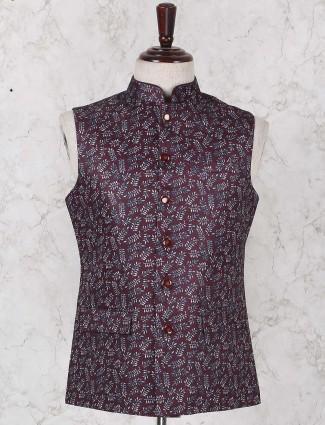 Purple hued designer printed waistcoat