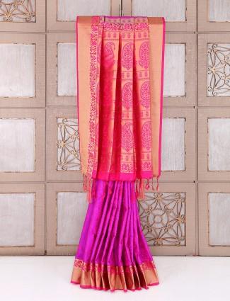 Purple impressive attractive silk saree