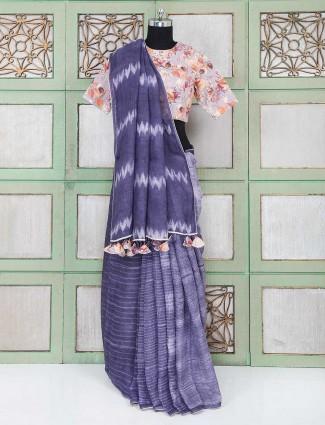 Purple linen fabric festive wear saree