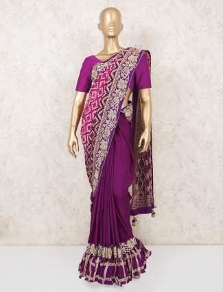 Purple Magenta Bandhej saree for weddind