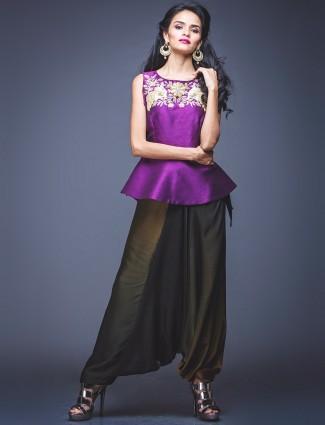 Purple olive peplum style salwar suit
