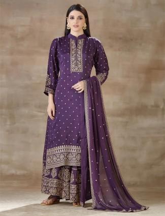 Purple palazzo and kurti for festival in cotton
