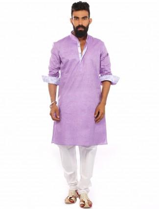 Purple plain cotton casual wear Kurta Suit