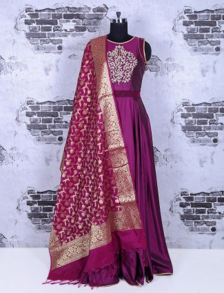 Purple plain silk anarkali suit