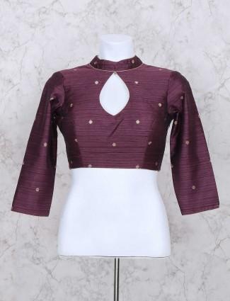 Purple raw silk chinese neck ready made blouse