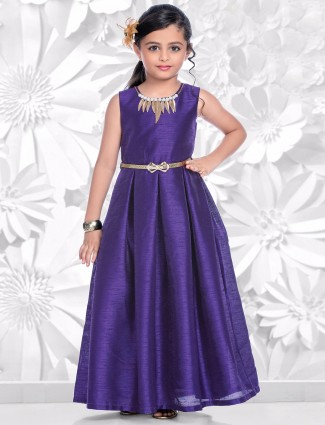 Purple raw silk gown
