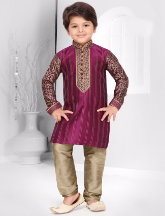 Purple raw silk kurta suit