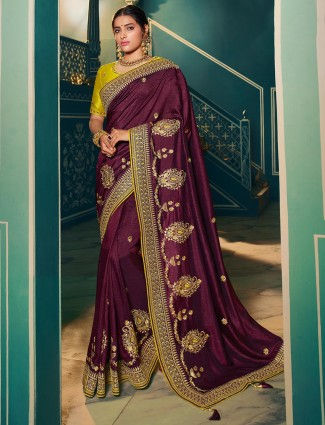Purple raw silk saree for wedding days