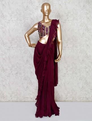 Purple ready to wear saree design in georgette