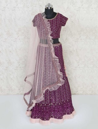 Purple round neck georgette lehenga choli