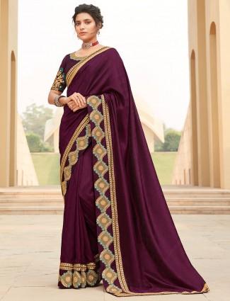 Purple satin saree for weddings