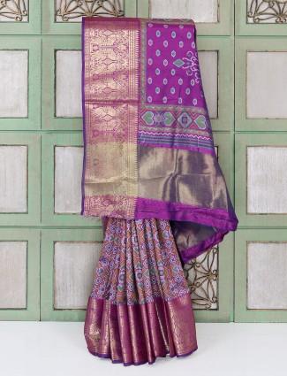 Purple semi silk fabric festive saree
