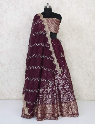 Purple semi stitched lehenga choli for wedding function