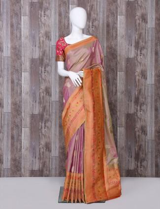 Purple shaded pure banarasi silk saree
