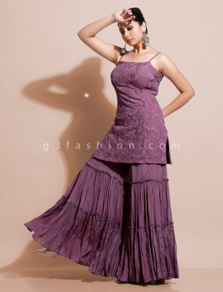 Purple sharara and kurti set for wedding function in cotton