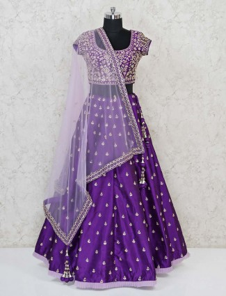 Purple silk traditional lehenga choli with dupatta