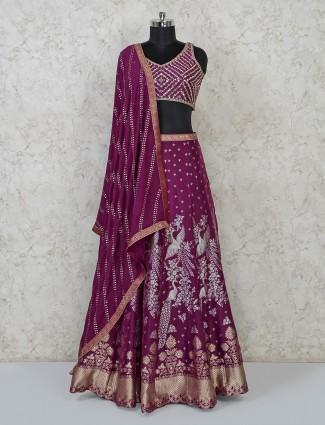 Purple silk wedding wear lehenga choli