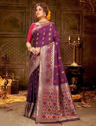 Purple soft banarasi silk saree with zari wevaing for weddings