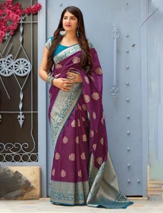 Purple wedding banarasi silk fabric saree