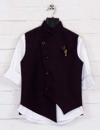 Purple white checks chinese neck waistcoat