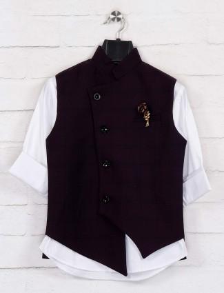 Purple white checks chinese neck waistcoat
