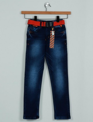 Rags stylish washed dark blue denim jeans for boys