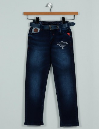 Rags washed navy slim fit jeans