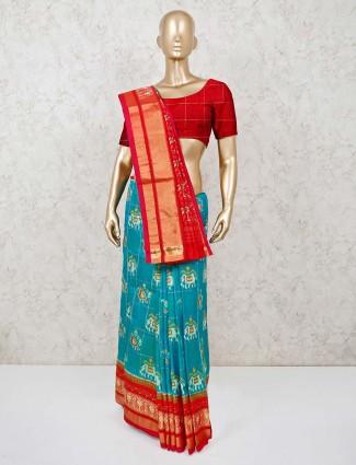 Rama and red Hyderabadi patola silk saree for festivals
