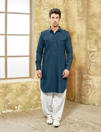Rama blue cotton fabric pathani suit