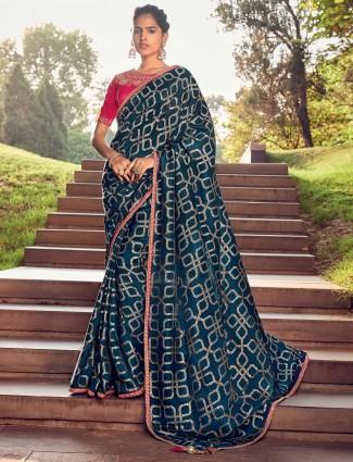 Rama blue cotton silk saree with contrast blouse piece