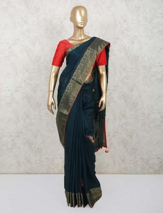 Rama blue dola silk saree for wedding with contrast blousepiece
