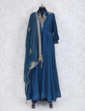 Rama blue floor length anarkali suit in silk fabric