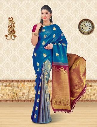 Rama blue kanchipuram silk saree