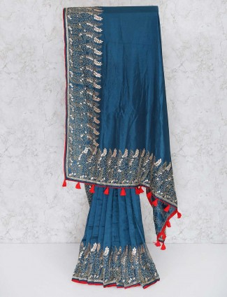 Rama blue party wear semi silk saree