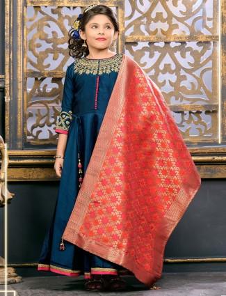 Rama blue raw silk party wear anarkali suit