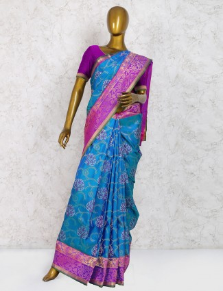 Rama blue saree in pure silk