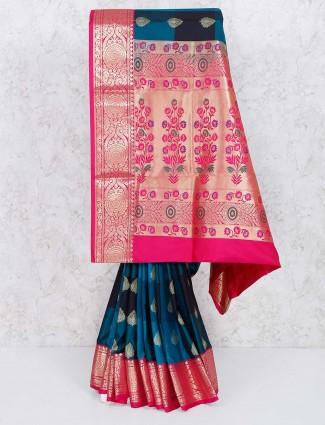 Rama blue saree in semi silk fabric