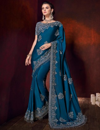 Rama blue satin pretty saree