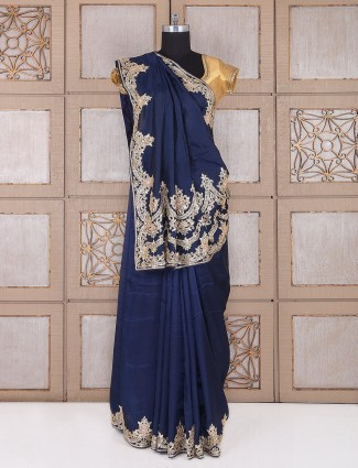 Navy satin silk wedding wear saree