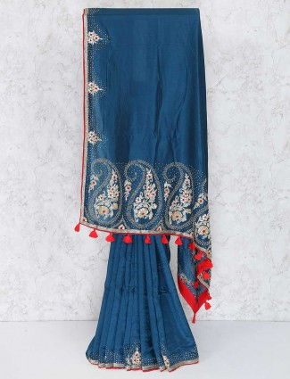 Rama blue semi silk saree