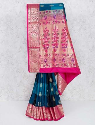 Rama blue semi silk wedding wear saree