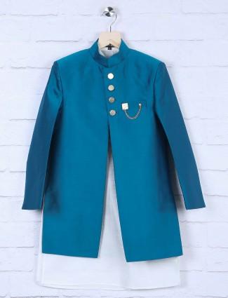 Rama blue terry rayon fabric solid indo western