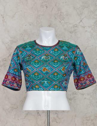 Rama greem patola silk ready made blouse