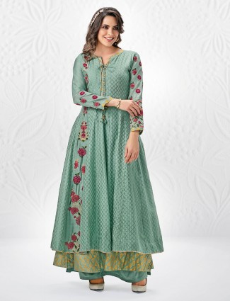 Rama green anarkali style palazzo suit for festive function