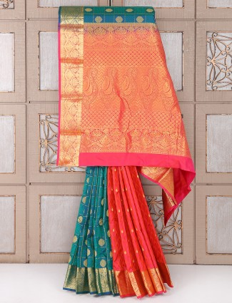 Rama green and red color silk saree