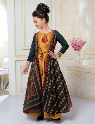 Rama green and yellow color jacket style gown
