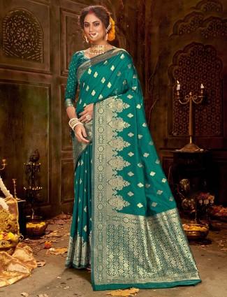 Rama green banarasi silk saree for weddings